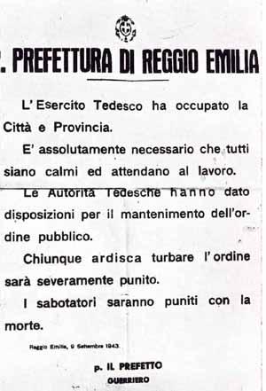 L'8 SETTEMBRE 1943 A REGGIO EMILIA