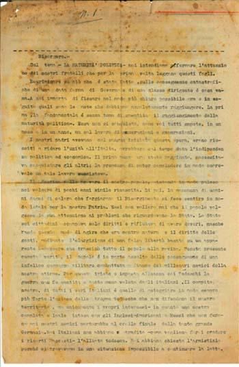 """Settembre 1943  """"I Fogli Tricolore"""""""
