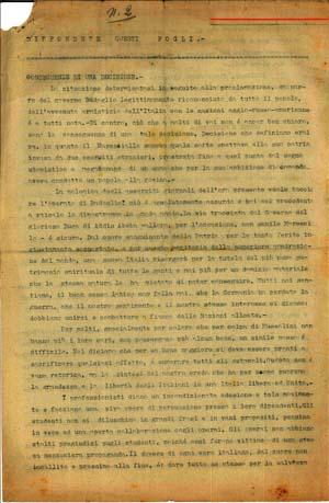 La prima pagina del secondo numero