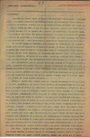 La prima pagina del terzo numero