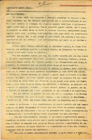 La prima pagina del quinto numero