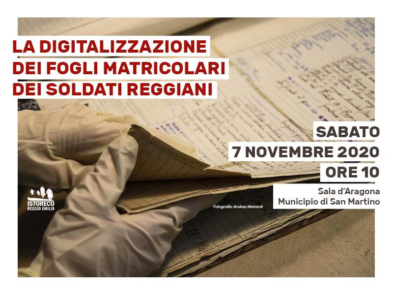 """Presentazione del progetto """"La digitalizzazione dei fogli matricolari dei soldati reggiani"""""""