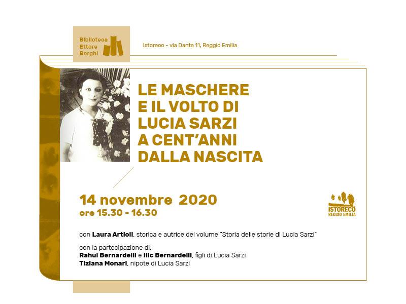 """""""Le maschere e il volto di Lucia Sarzi a cent'anni dalla nascita"""" in diretta Facebook"""