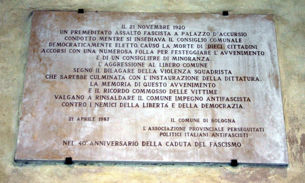 La strage di Palazzo d'Accursio e l'avvento del fascismo a Bologna – Il centenario