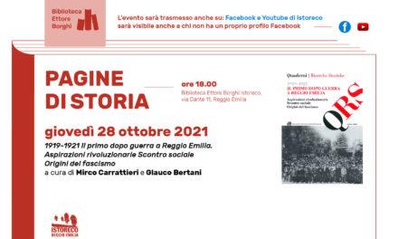 """Presentazione del Quaderno """"1919-1921 Il primo dopo guerra a Reggio Emilia"""""""